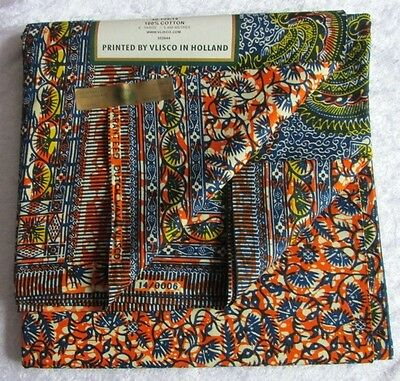 ISBN 14/0006 Cotton Wax Print Fabric By Vlisco Holland 12 yards £149.99