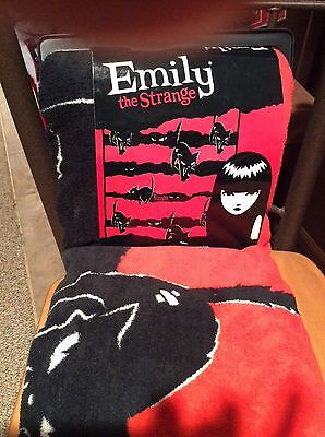 Emily the Strange Goth PLUSH throw blanket Kitty Stripe NEW