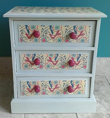 Child 3 drawer unit bedroom cabinet painted and decoupaged