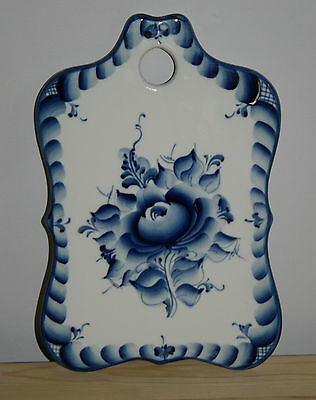 "Russian Gzhel - porcelain decorative cutting board - ""Russian Soul"""