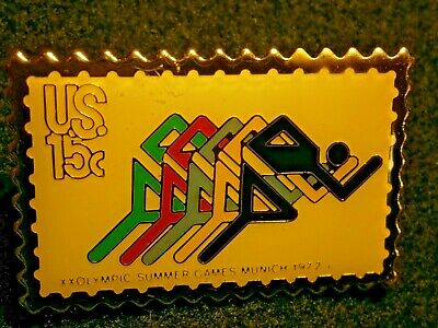 Stamp Design Pin Track Event 1972 Summer Games Munich Germany