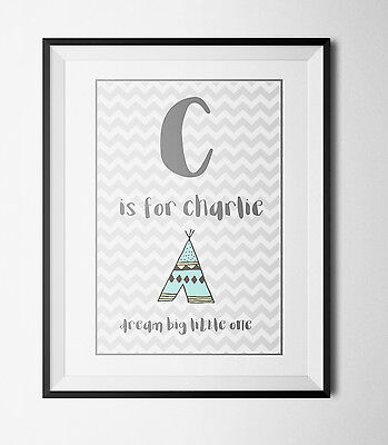 Personalised Initial Children's A4 Print- Nursery Wall art