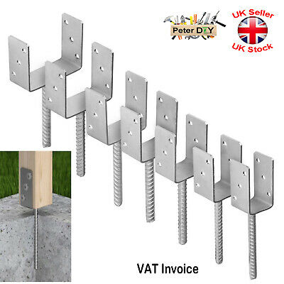 """Heavy Duty Galvanised (""""U"""" Shape Pin) Post Fence Foot Anchors 7 Sizes Pack:1 2 4"""