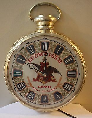 Vintage Anheuser Busch Wall Mount Grandfather Watch Clock Fully Functional