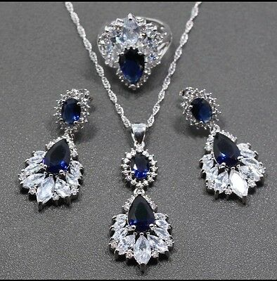 Blue Sapphire White Crystal 925 Sterling Silver Jewellery Set With Gift Box