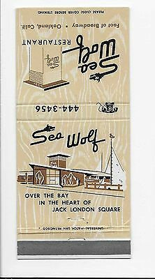 Vintage Matchbook Cover From Sea Wolf Restaurant in Jack London Square, Oakland