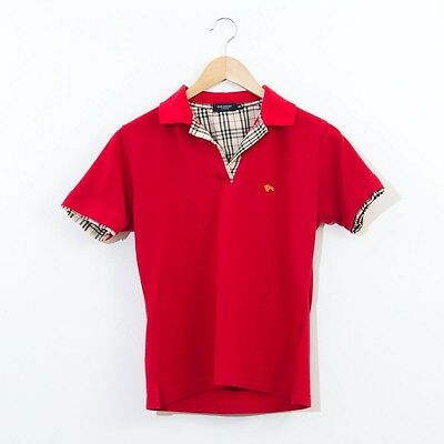 True Vintage Burberry London Cotton Casual Fitted Polo Shirt Red Small UK 10