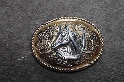 Womens belt buckle horse head gold and silver
