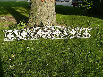 Old 9 Foot Cast Iron White Gate Topper Architectural Salvage So Ornate Heavy
