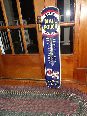"""1946 Vintage Chew Mail Pouch Tobacco Working Thermometer 39"""" advertising sign"""