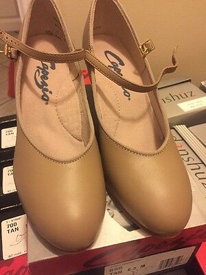 "Capezio #656 Tan Character Ballroom Dance Shoes 3"" Theatrical Footlight"