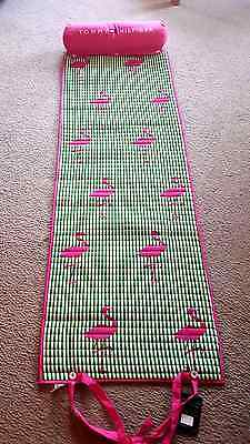 Tommy Hilfiger Roll-Up Beach Mat With Pillow  Shoulder Strap Green Pink Flamingo