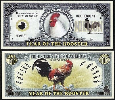 Rooster Million Dollar Bill, 2017 Year of the Rooster - Lot of 2 Bills