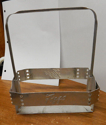 Rare FIZZO Soda Pop Beverage 1950s era Embossed Aluminum Bottle Carrier Holder