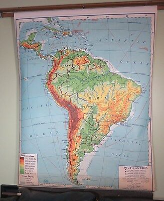 Vintage AJ Nystrom 1949 School House Retractable South America Map