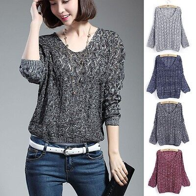 NEW Women Casual Long sleeve Knitted Pullover Loose Sweater Knitwear Jumper Tops