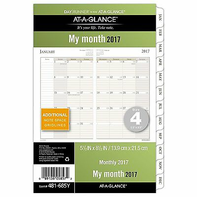 """Day Runner Monthly Planner Refill 2017, 5-1/2 x 8-1/2"""", Size 4 481-685Y"""