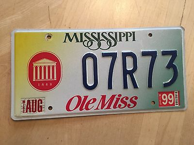 "Mississippi Collegiate License Plate "" 07R73 "" Ms Ole Miss University Oxford"