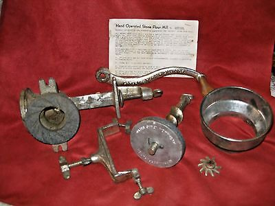 Vintage Retsel Hand Operated Stone Flour Grain Mill grinder  w/instructions