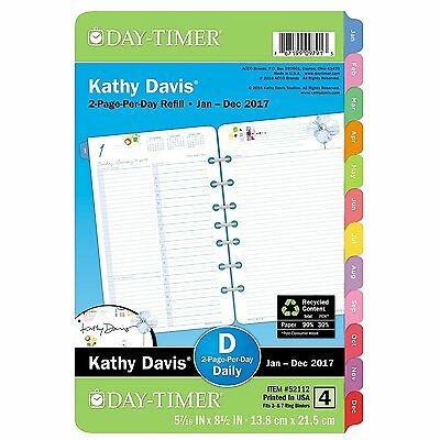 """Day-Timer Planner Refill 2017, 2 Page Per Day, 5-1/2 x 8-1/2"""", Size 4, Kathy"""