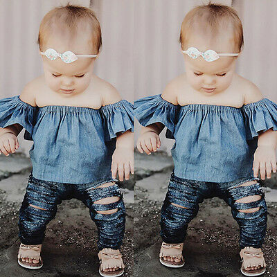 Lovely Toddler Baby Girl Kids Clothes Demin T-Shirt Blouse Shirt Tops Tee Outfit