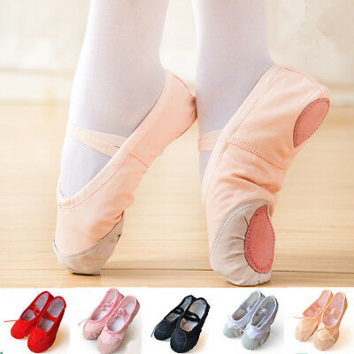 2 pairs Child Adult Ballet Dance Shoes Soft Pointe Canvas Slippers Gymnastics