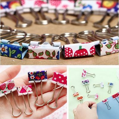 File Flower Stationery Office Clips Color Cute Paper 20Pcs Metal Binder