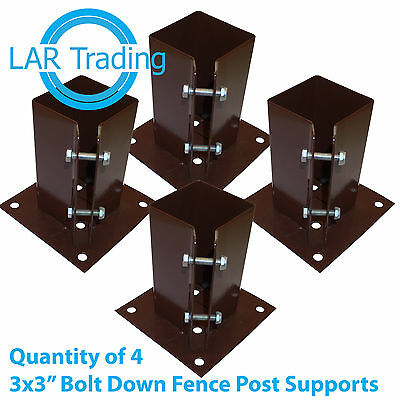 "Qty of 4 3""x3"" / 75x75mm Bolt Down Fence Post Support Holder Shoe Like Met Post"