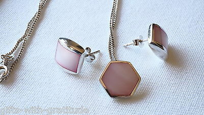 925 Silver & Pink Shell Inlay Necklace & Earrings Estate Jewellery