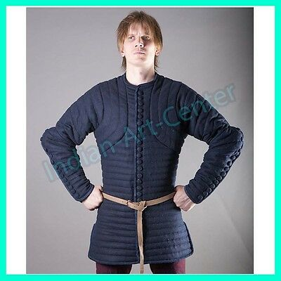 Thick Blue Color Gambeson Medieval Padded Full Sleeves Armor Reenactment Larp
