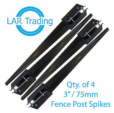 "Qty 4 of 3x3""/75x75mm Fence Post Holder Drive In Spike Bolt Grip Like Metpost"