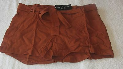 New Look Size 12 MATERNITY RUST LINEN SHORTS *BNWT* Summer Ladies Brown New