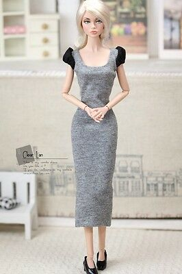 Momoko MMK Doll Outfit Grey Long Dress