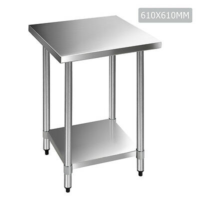 Commercial 430 Stainless Steel Kitchen Food Preparation Work Bench Top 610mm