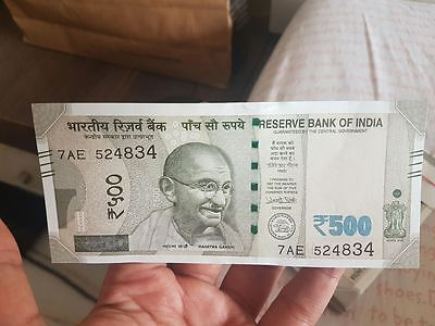 India 500 Rupees New 2016 Gandhi Red Fort Unc Urujit Patel Currency Money