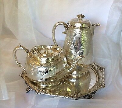 Antique Silver plated tea & coffee pot with footed tray Fenton Bros Sheffield