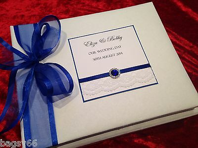 LARGE  Luxury Personalised Vintage Wedding Engagement Guest Book Royal Blue