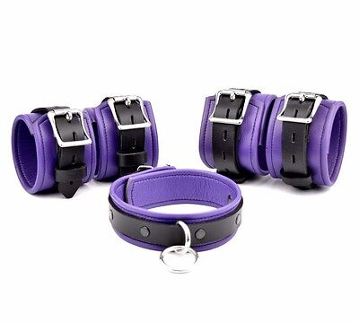 COMPLETE RESTRAINT SET PREMIUM Handcrafted Leather PURPLE / BLACK  CF3Col7BlkPpl
