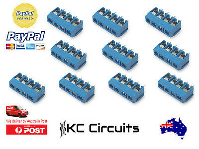 10 pcs 4 Pin Screw Blue PCB Terminal Block Connector 5mm Pitch