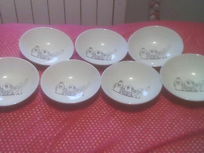 Vintage Set Of Seven Kelloggs Cereal Bowls 1984 Ex Cond Free Delivery Kitchenali
