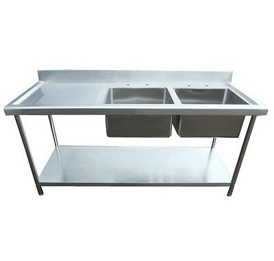 Stainless Steel catering sink Commercial Double bowl 1800mm Left hand drainer