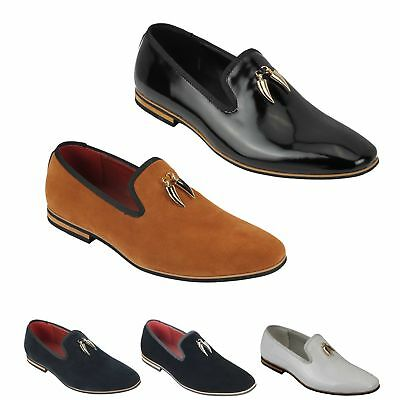 New Mens Suede Leather Gold Shark Tooth Tassel Loafers Driving Slip on Shoes