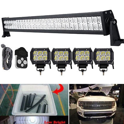 "30 32inch Led Light Bar + 4x 4"" CREE Bumper Pods Offroad Toyota Jeep Chevy Ford"