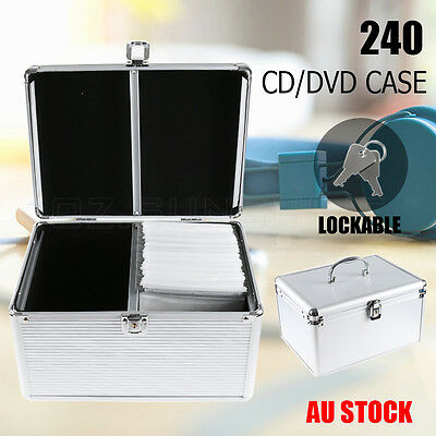 Aluminium CD/DVD Bluray Lock Storage Case Box Lock 240 Discs SL Holds Folder AU