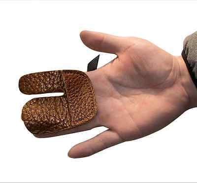 Leather Archery Finger Tab Guard Hunting Shooting Bow String Hand Protect Glove