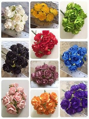 50 Artificial Mulberry Paper Flowers Rose Petal Handmade Scrapbooking 2.5cm # AU