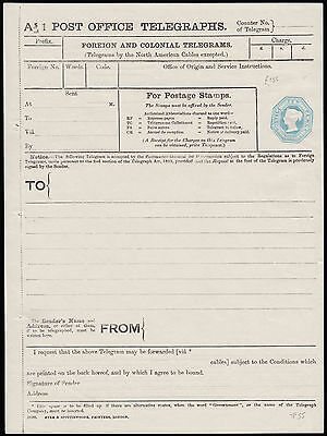 1889 Telegraph Form TP55. Turquoise 10d.