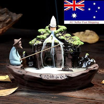 Ceramic Fish Smoke Backflow Tower Incense Burner Holder Censer Furnace Fragrant