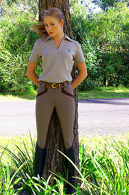 SPORTEQUE Ladies Size 12 - Taupe Horse Riding Breeches with Stretch Clarino Seat