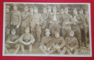 WW1 - Group of Soldiers, Some With Ammunition Belts, RP PC